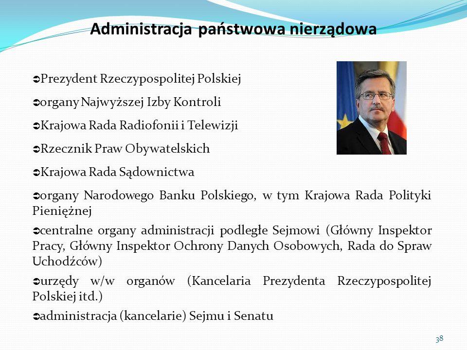  Prezydent Rzeczypospolitej Polskiej  organy Najwyższej Izby Kontroli  Krajowa Rada Radiofonii i Telewizji  Rzecznik Praw Obywatelskich  Krajowa