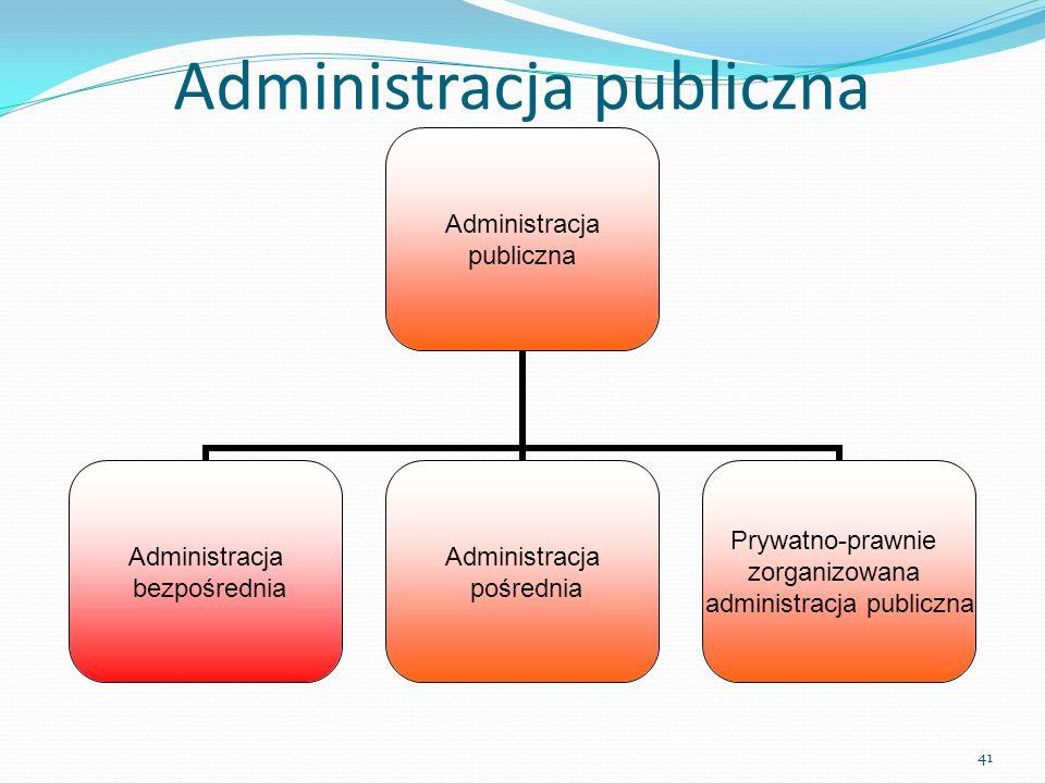 Administracja publiczna Administracja bezpośrednia Administracja pośrednia Prywatno-prawnie zorganizowana administracja publiczna 41 Administracja pub