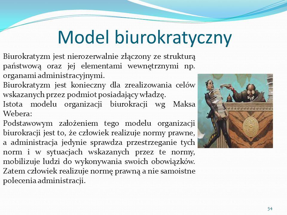 Model biurokratyczny Biurokratyzm jest nierozerwalnie złączony ze strukturą państwową oraz jej elementami wewnętrznymi np. organami administracyjnymi.