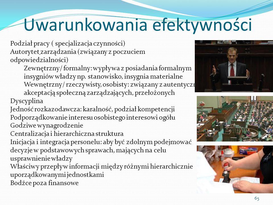 Uwarunkowania efektywności 65 Podział pracy ( specjalizacja czynności) Autorytet zarządzania (związany z poczuciem odpowiedzialności) Zewnętrzny/ form
