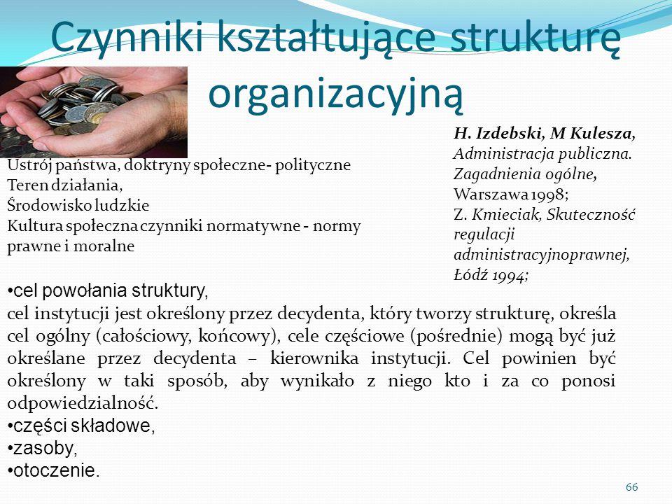 Czynniki kształtujące strukturę organizacyjną cel powołania struktury, cel instytucji jest określony przez decydenta, który tworzy strukturę, określa