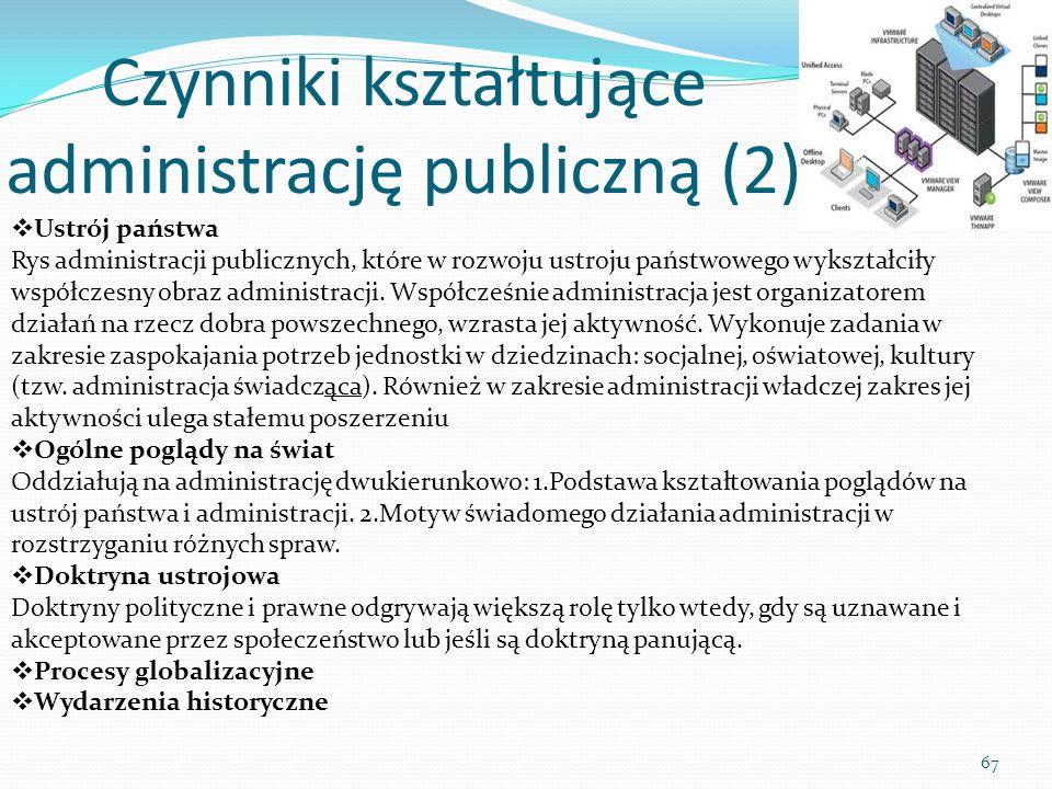 Czynniki kształtujące administrację publiczną (2) 67  Ustrój państwa Rys administracji publicznych, które w rozwoju ustroju państwowego wykształciły