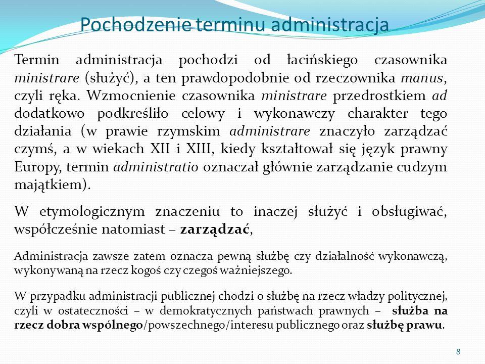 Pochodzenie terminu administracja Termin administracja pochodzi od łacińskiego czasownika ministrare (służyć), a ten prawdopodobnie od rzeczownika man