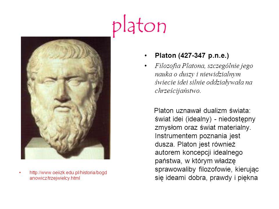 platon http://www.oeiizk.edu.pl/historia/bogd anowicz/trzejwielcy.html Platon (427-347 p.n.e.) Filozofia Platona, szczególnie jego nauka o duszy i nie