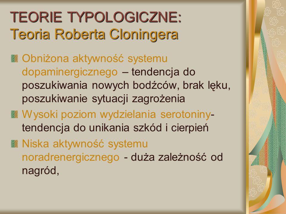 TEORIE TYPOLOGICZNE: Teoria Roberta Cloningera Obniżona aktywność systemu dopaminergicznego – tendencja do poszukiwania nowych bodźców, brak lęku, pos