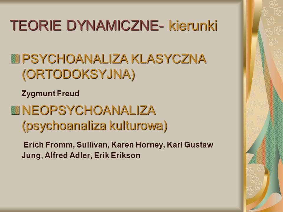 TEORIE DYNAMICZNE- kierunki PSYCHOANALIZA KLASYCZNA (ORTODOKSYJNA) Zygmunt Freud NEOPSYCHOANALIZA (psychoanaliza kulturowa) Erich Fromm, Sullivan, Kar