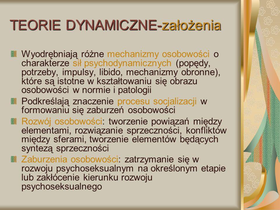 TEORIE DYNAMICZNE-założenia Wyodrębniają różne mechanizmy osobowości o charakterze sił psychodynamicznych (popędy, potrzeby, impulsy, libido, mechaniz
