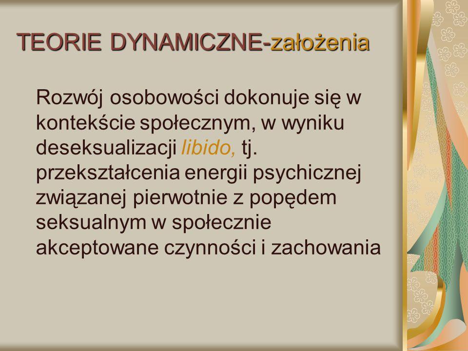 TEORIE DYNAMICZNE-założenia Rozwój osobowości dokonuje się w kontekście społecznym, w wyniku deseksualizacji libido, tj. przekształcenia energii psych