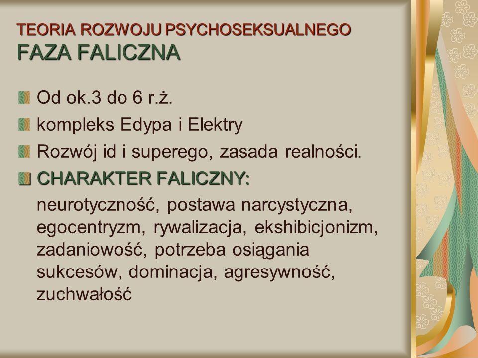 TEORIA ROZWOJU PSYCHOSEKSUALNEGO FAZA FALICZNA Od ok.3 do 6 r.ż. kompleks Edypa i Elektry Rozwój id i superego, zasada realności. CHARAKTER FALICZNY: