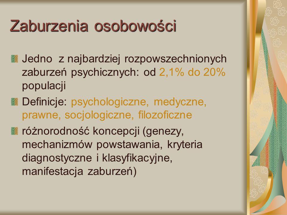 Zaburzenia osobowości Jedno z najbardziej rozpowszechnionych zaburzeń psychicznych: od 2,1% do 20% populacji Definicje: psychologiczne, medyczne, praw