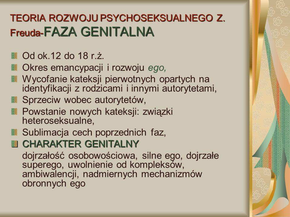 TEORIA ROZWOJU PSYCHOSEKSUALNEGO Z. Freuda- FAZA GENITALNA Od ok.12 do 18 r.ż. Okres emancypacji i rozwoju ego, Wycofanie kateksji pierwotnych opartyc
