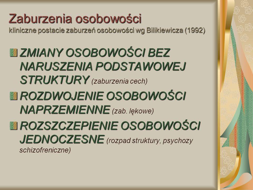 Zaburzenia osobowości kliniczne postacie zaburzeń osobowości wg Bilikiewicza (1992) ZMIANY OSOBOWOŚCI BEZ NARUSZENIA PODSTAWOWEJ STRUKTURY ZMIANY OSOB