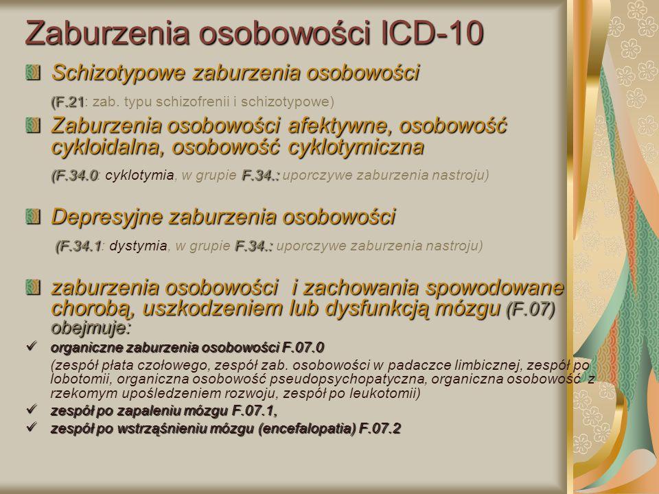 Zaburzenia osobowości ICD-10 Schizotypowe zaburzenia osobowości (F.21 (F.21: zab. typu schizofrenii i schizotypowe) Zaburzenia osobowości afektywne, o