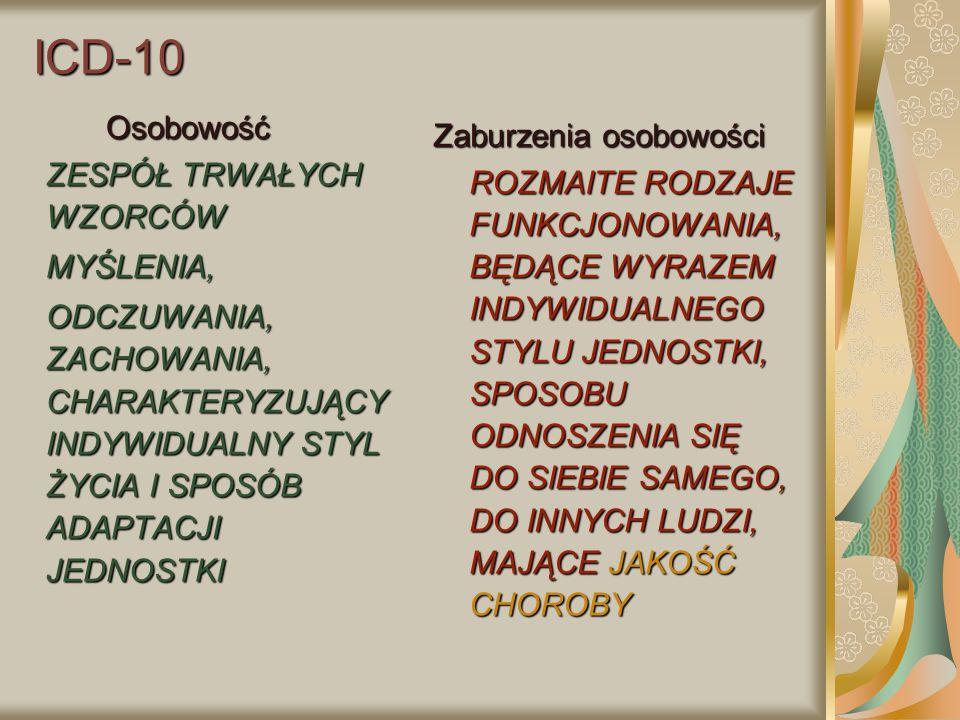 ICD-10 Osobowość ZESPÓŁ TRWAŁYCH WZORCÓW MYŚLENIA, ODCZUWANIA, ZACHOWANIA, CHARAKTERYZUJĄCY INDYWIDUALNY STYL ŻYCIA I SPOSÓB ADAPTACJI JEDNOSTKI Zabur