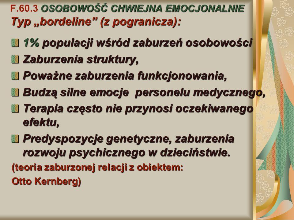 """OSOBOWOŚĆ CHWIEJNA EMOCJONALNIE Typ """"bordeline"""" (z pogranicza): F.60.3 OSOBOWOŚĆ CHWIEJNA EMOCJONALNIE Typ """"bordeline"""" (z pogranicza): 1% populacji wś"""