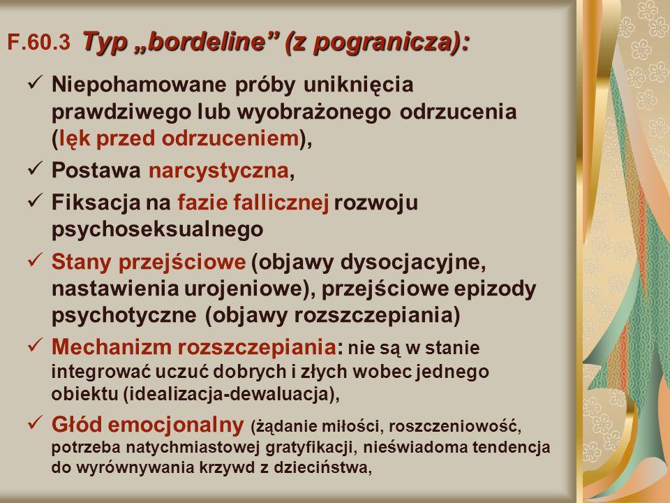 """Typ """"bordeline"""" (z pogranicza): F.60.3 Typ """"bordeline"""" (z pogranicza): Niepohamowane próby uniknięcia prawdziwego lub wyobrażonego odrzucenia (lęk prz"""