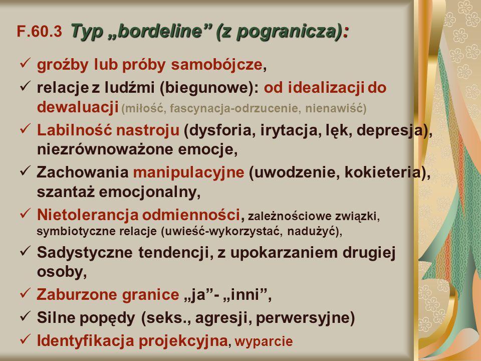 """Typ """"bordeline"""" (z pogranicza): F.60.3 Typ """"bordeline"""" (z pogranicza): groźby lub próby samobójcze, relacje z ludźmi (biegunowe): od idealizacji do de"""