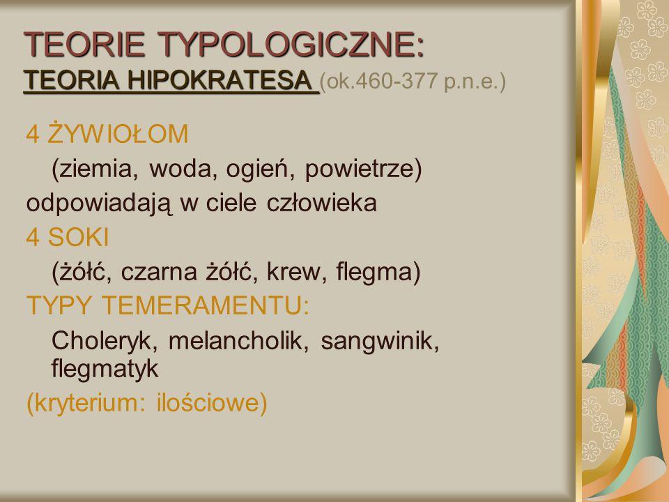 TEORIE TYPOLOGICZNE: TEORIA KRETSCHMERA Typ schizotymiczny (leptosomatyk, astenik)- skłonność do schizofrenii Typ cyklotymiczny (pyknik)- skłonność do cyklofrenii (psychozy maniakalno-depresyjnej) Typ iksotymiczny (atletyk)- skłonność do paranoi) Typ skirotymiczny (dysplastyk)- skłonność do histerii