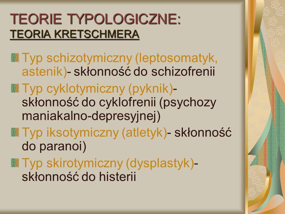 TEORIE TYPOLOGICZNE: Teoria Roberta Cloningera Obniżona aktywność systemu dopaminergicznego – tendencja do poszukiwania nowych bodźców, brak lęku, poszukiwanie sytuacji zagrożenia Wysoki poziom wydzielania serotoniny- tendencja do unikania szkód i cierpień Niska aktywność systemu noradrenergicznego - duża zależność od nagród,