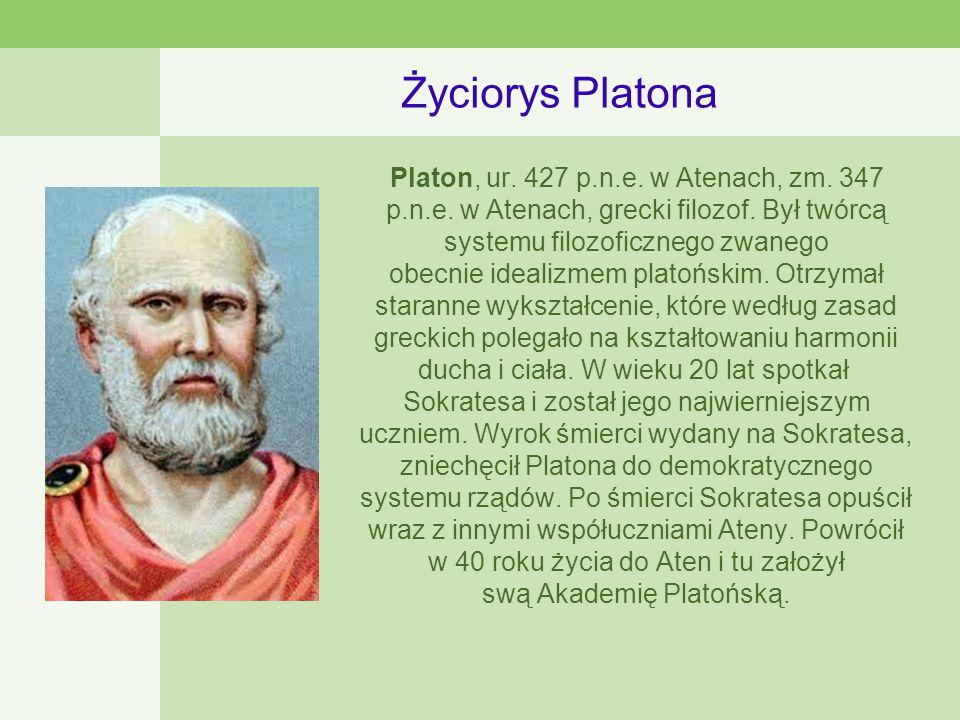 Życiorys Platona Platon, ur.427 p.n.e. w Atenach, zm.