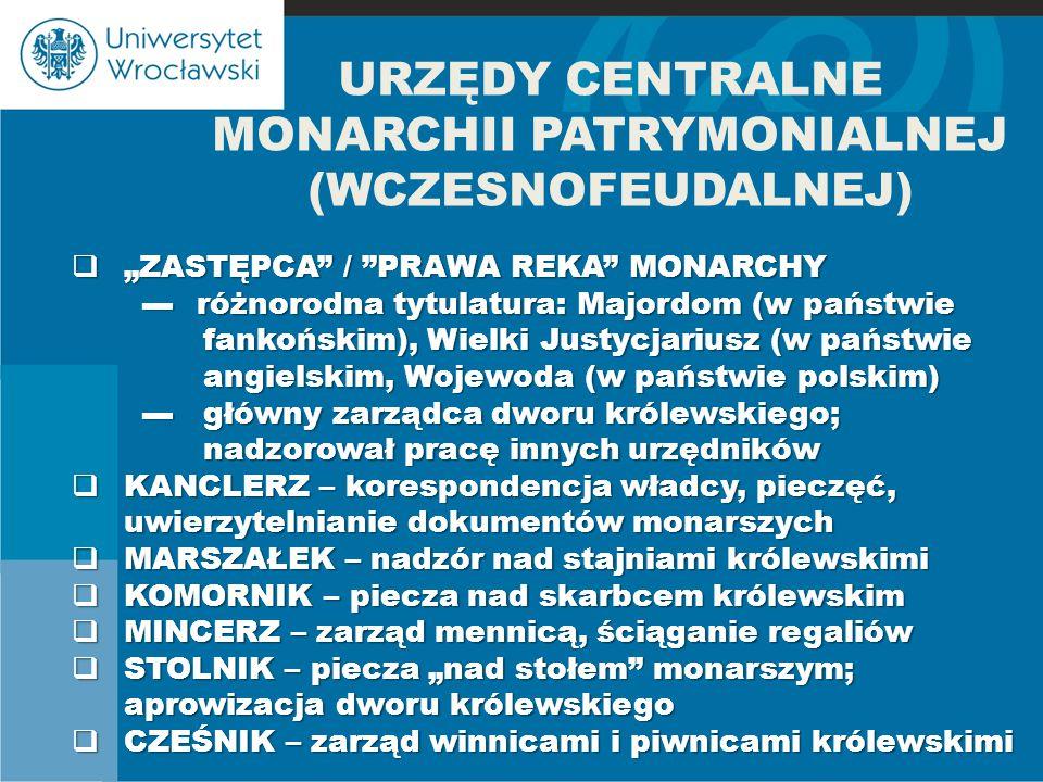 """URZĘDY CENTRALNE MONARCHII PATRYMONIALNEJ (WCZESNOFEUDALNEJ)  """"ZASTĘPCA"""" / """"PRAWA REKA"""" MONARCHY ▬ różnorodna tytulatura: Majordom (w państwie ▬ różn"""