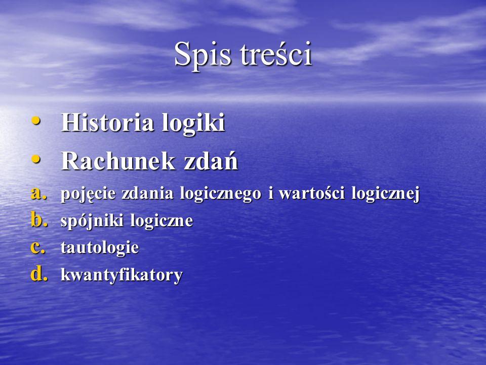 Spis treści Historia logiki Historia logiki Rachunek zdań Rachunek zdań a.