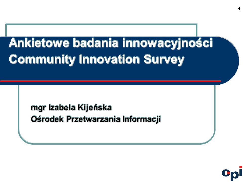 1 Ankietowe badania innowacyjności Community Innovation Survey mgr Izabela Kijeńska Ośrodek Przetwarzania Informacji mgr Izabela Kijeńska Ośrodek Przetwarzania Informacji