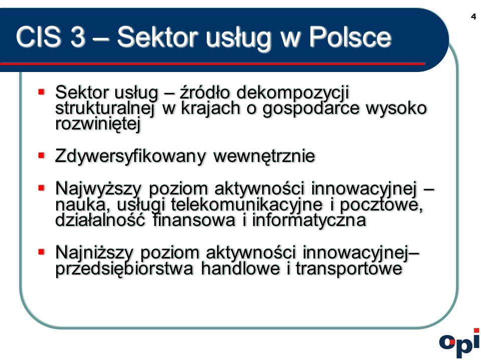 4 CIS 3 – Sektor usług w Polsce  Sektor usług – źródło dekompozycji strukturalnej w krajach o gospodarce wysoko rozwiniętej  Zdywersyfikowany wewnętrznie  Najwyższy poziom aktywności innowacyjnej – nauka, usługi telekomunikacyjne i pocztowe, działalność finansowa i informatyczna  Najniższy poziom aktywności innowacyjnej– przedsiębiorstwa handlowe i transportowe  Sektor usług – źródło dekompozycji strukturalnej w krajach o gospodarce wysoko rozwiniętej  Zdywersyfikowany wewnętrznie  Najwyższy poziom aktywności innowacyjnej – nauka, usługi telekomunikacyjne i pocztowe, działalność finansowa i informatyczna  Najniższy poziom aktywności innowacyjnej– przedsiębiorstwa handlowe i transportowe