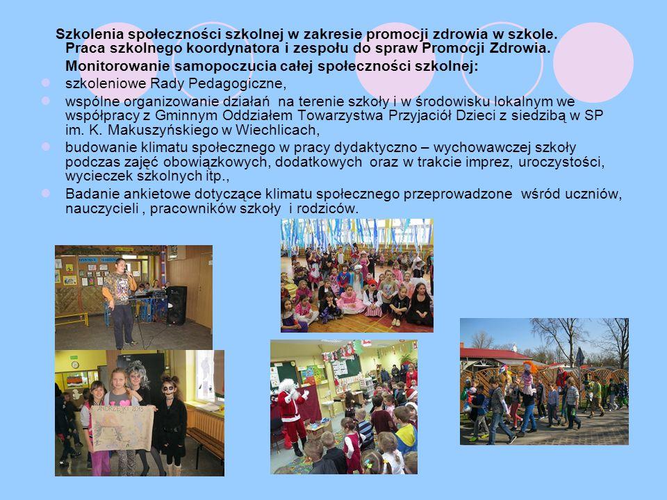 Szkolenia społeczności szkolnej w zakresie promocji zdrowia w szkole.