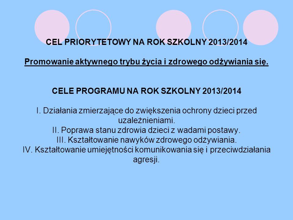 CEL PRIORYTETOWY NA ROK SZKOLNY 2013/2014 Promowanie aktywnego trybu życia i zdrowego odżywiania się.