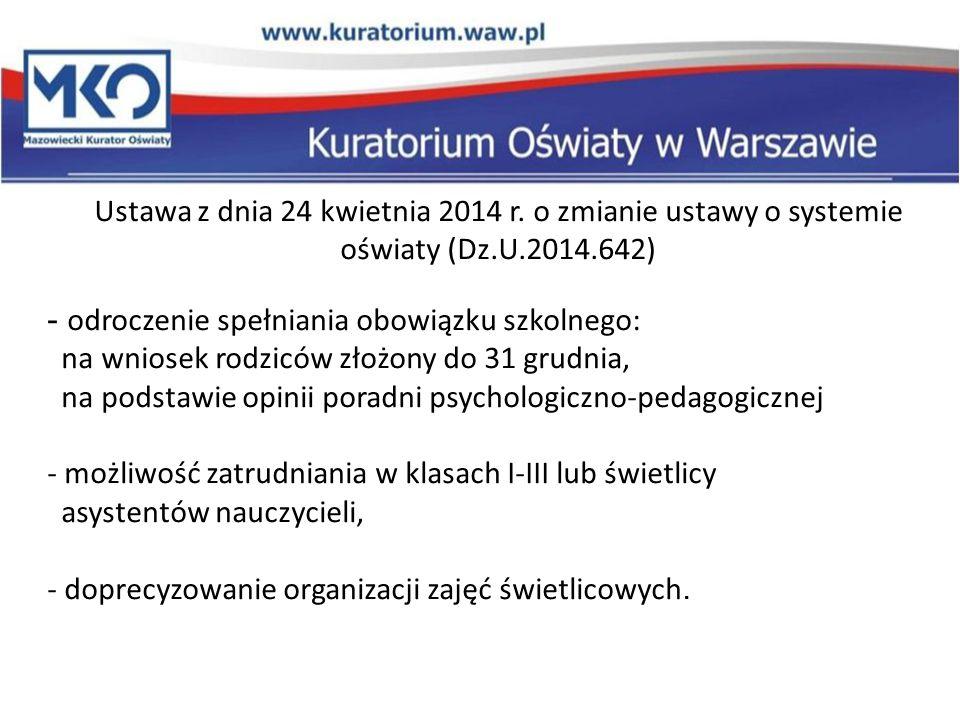Ustawa z dnia 24 kwietnia 2014 r. o zmianie ustawy o systemie oświaty (Dz.U.2014.642) - odroczenie spełniania obowiązku szkolnego: na wniosek rodziców