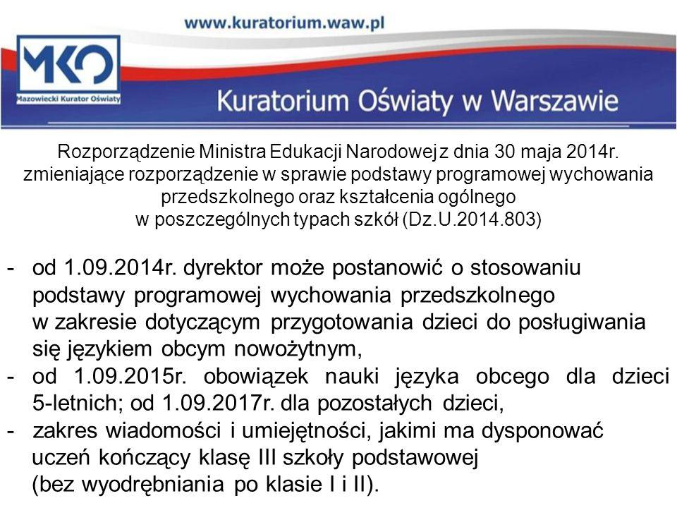 Rozporządzenie Ministra Edukacji Narodowej z dnia 30 maja 2014r. zmieniające rozporządzenie w sprawie podstawy programowej wychowania przedszkolnego o