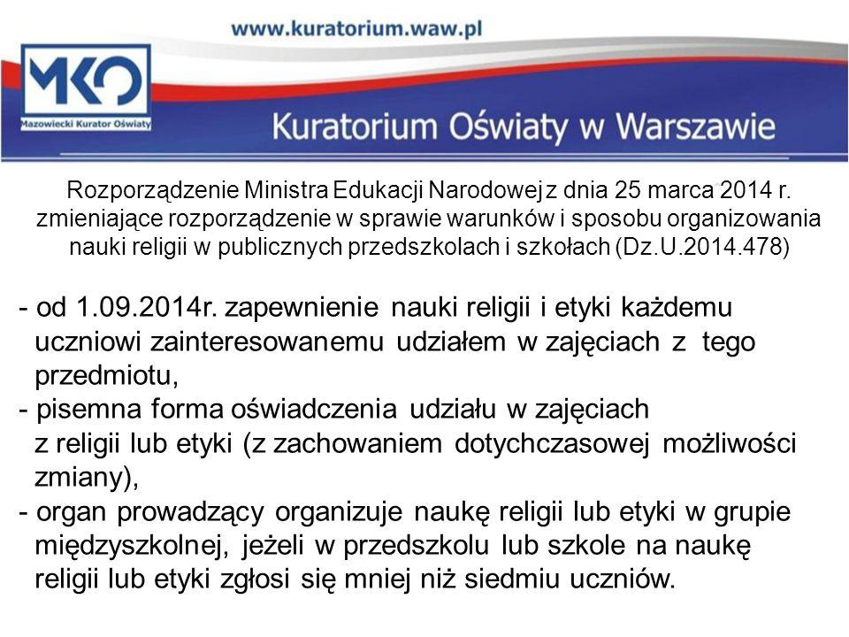 Rozporządzenie Ministra Edukacji Narodowej z dnia 25 marca 2014 r.
