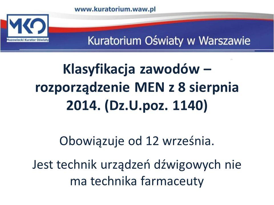 Klasyfikacja zawodów – rozporządzenie MEN z 8 sierpnia 2014. (Dz.U.poz. 1140) Obowiązuje od 12 września. Jest technik urządzeń dźwigowych nie ma techn