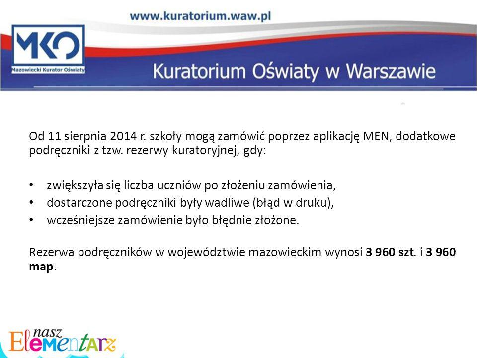 Od 11 sierpnia 2014 r. szkoły mogą zamówić poprzez aplikację MEN, dodatkowe podręczniki z tzw. rezerwy kuratoryjnej, gdy: zwiększyła się liczba ucznió