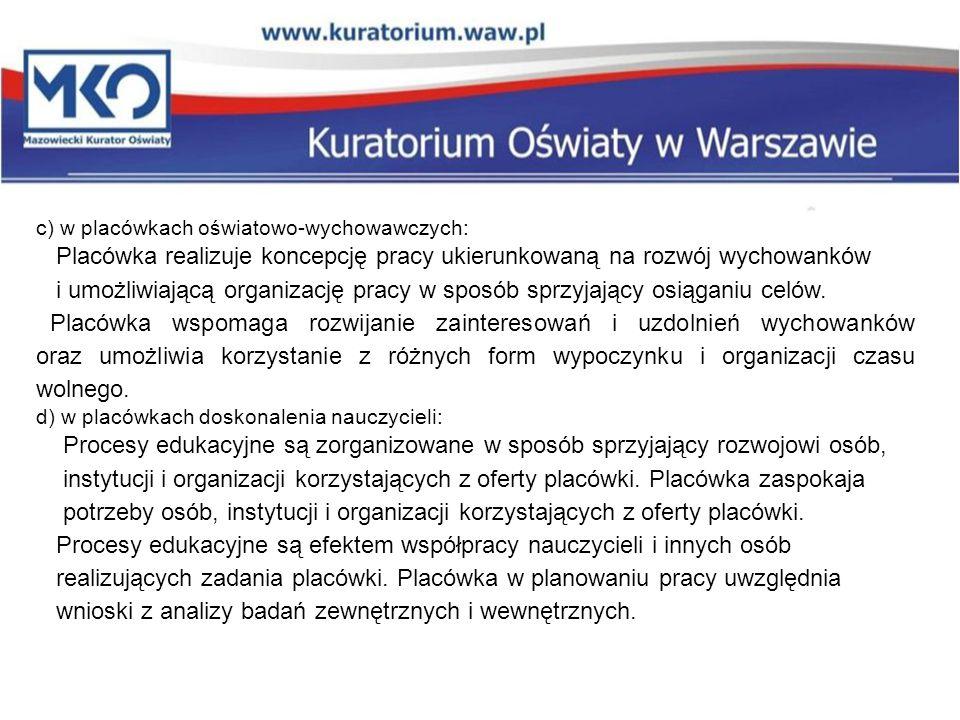 c) w placówkach oświatowo-wychowawczych: Placówka realizuje koncepcję pracy ukierunkowaną na rozwój wychowanków i umożliwiającą organizację pracy w sposób sprzyjający osiąganiu celów.