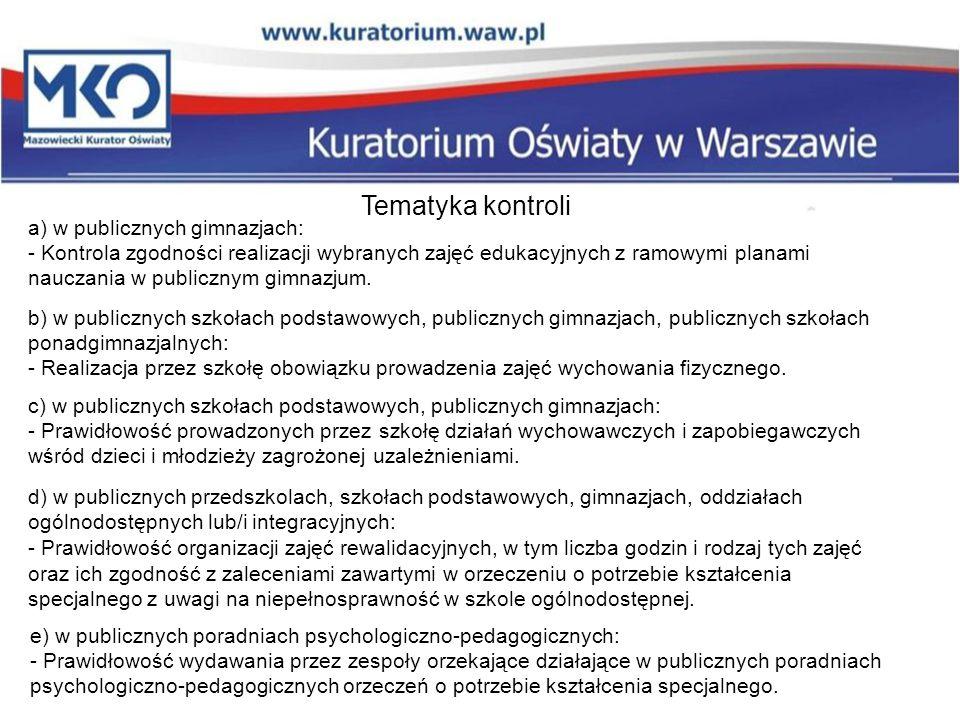 a) w publicznych gimnazjach: - Kontrola zgodności realizacji wybranych zajęć edukacyjnych z ramowymi planami nauczania w publicznym gimnazjum. Tematyk