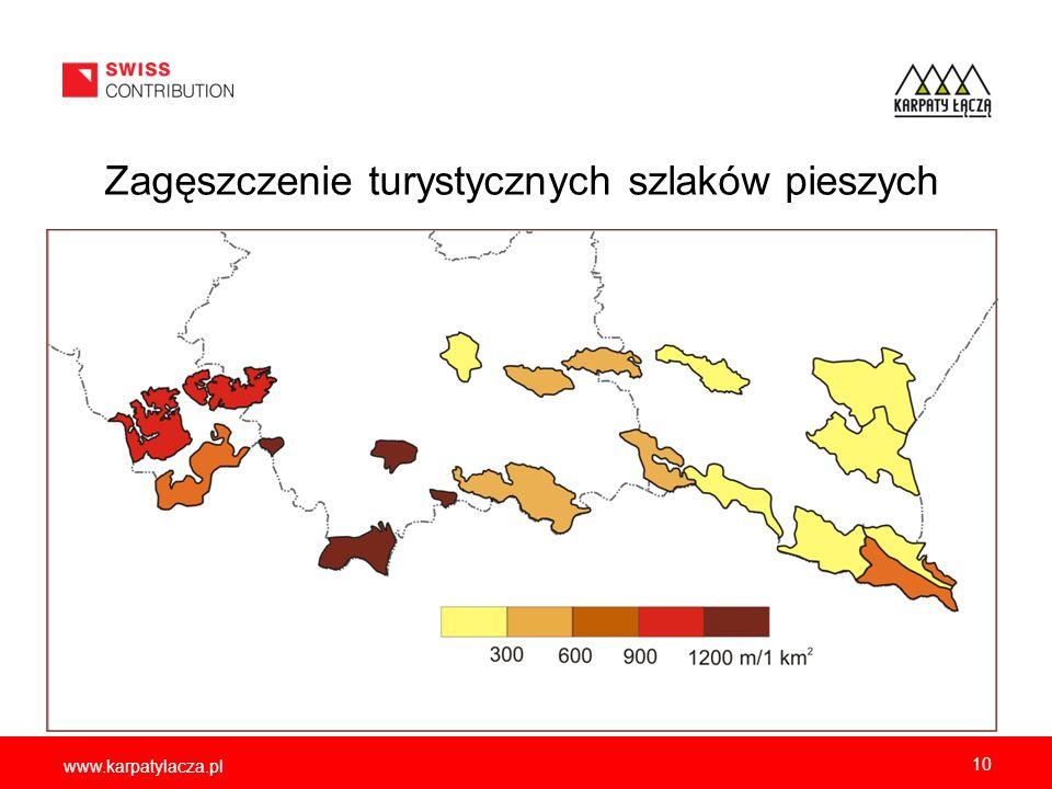 www.karpatylacza.pl Zagęszczenie turystycznych szlaków pieszych 10