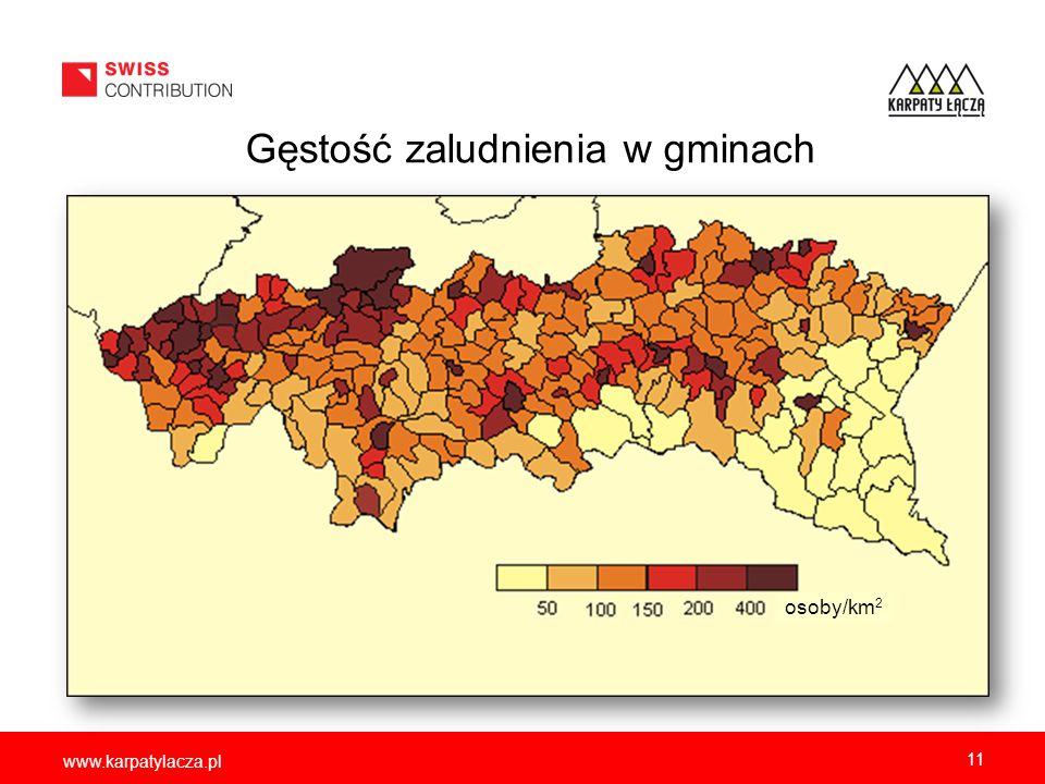 www.karpatylacza.pl Gęstość zaludnienia w gminach 11 osoby/km 2