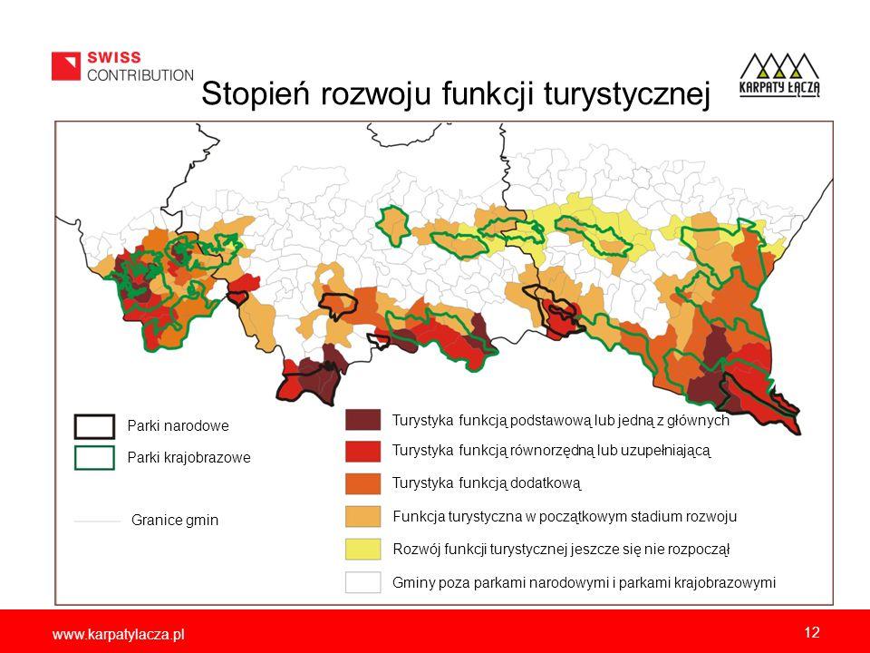 www.karpatylacza.pl 12 Stopień rozwoju funkcji turystycznej Parki narodowe Parki krajobrazowe Granice gmin Turystyka funkcją równorzędną lub uzupełnia