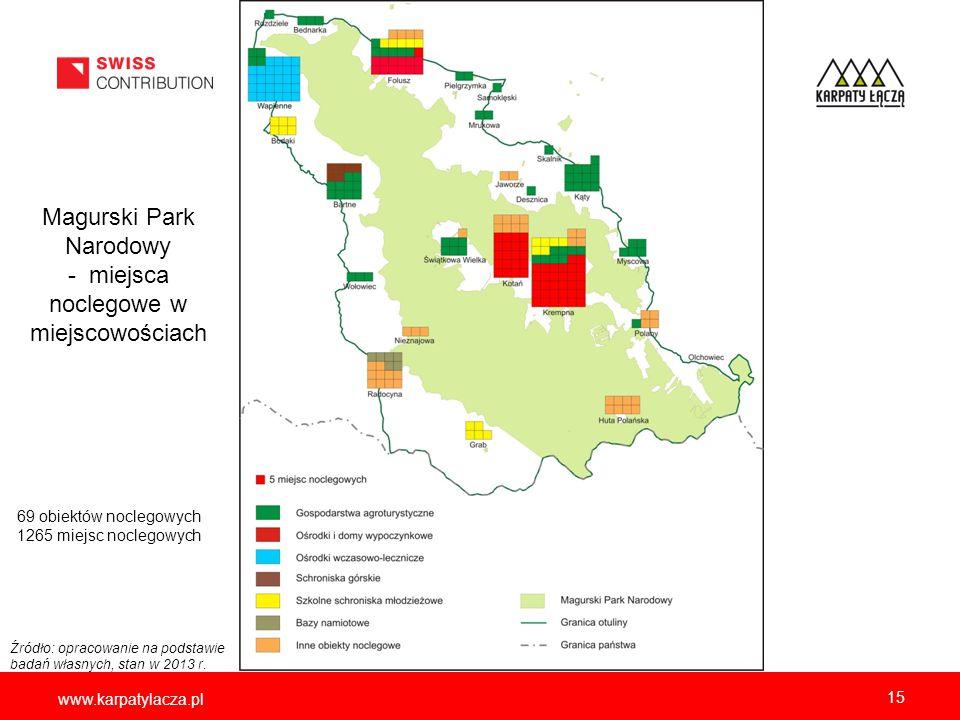 www.karpatylacza.pl Magurski Park Narodowy - miejsca noclegowe w miejscowościach 15 69 obiektów noclegowych 1265 miejsc noclegowych Źródło: opracowani