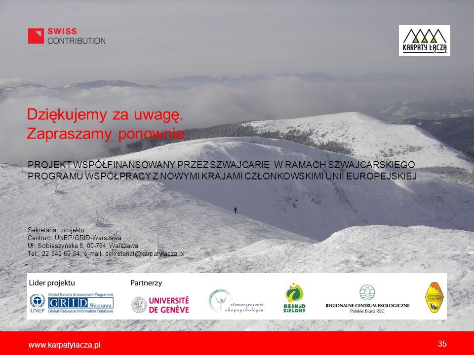 www.karpatylacza.pl Sekretariat projektu: Centrum UNEP/GRID-Warszawa Ul. Sobieszyńska 8; 00-764 Warszawa Tel.: 22 840 66 64; e-mail: sekretariat@karpa