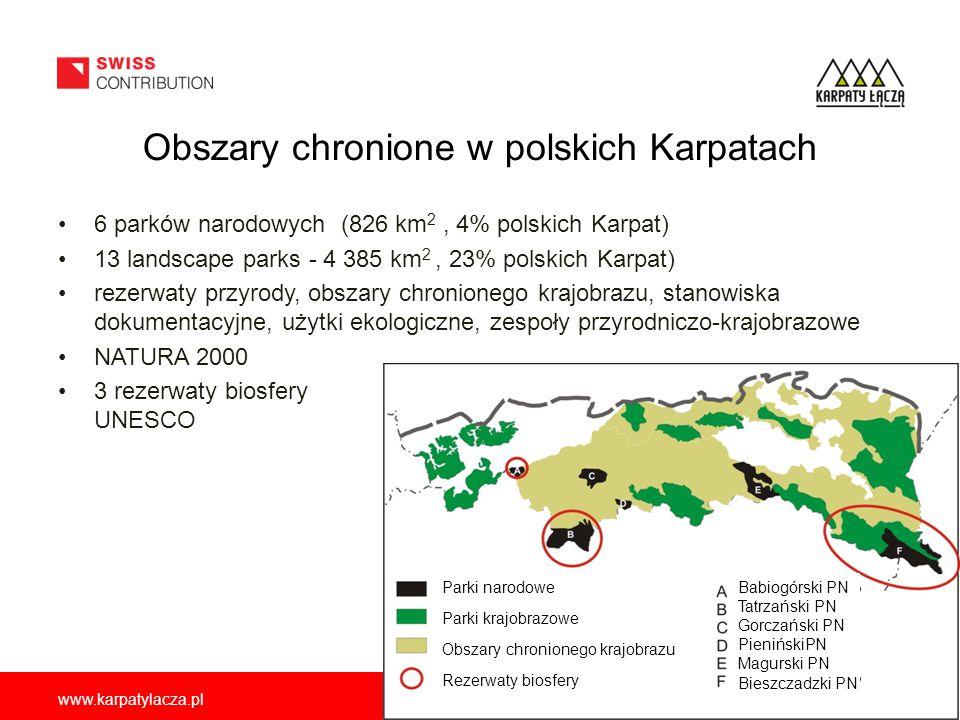 www.karpatylacza.pl Obszary chronione w polskich Karpatach 6 parków narodowych (826 km 2, 4% polskich Karpat) 13 landscape parks - 4 385 km 2, 23% pol