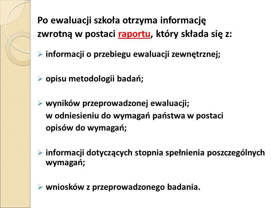 Po ewaluacji szkoła otrzyma informację zwrotną w postaci raportu, który składa się z:  informacji o przebiegu ewaluacji zewnętrznej;  opisu metodolo