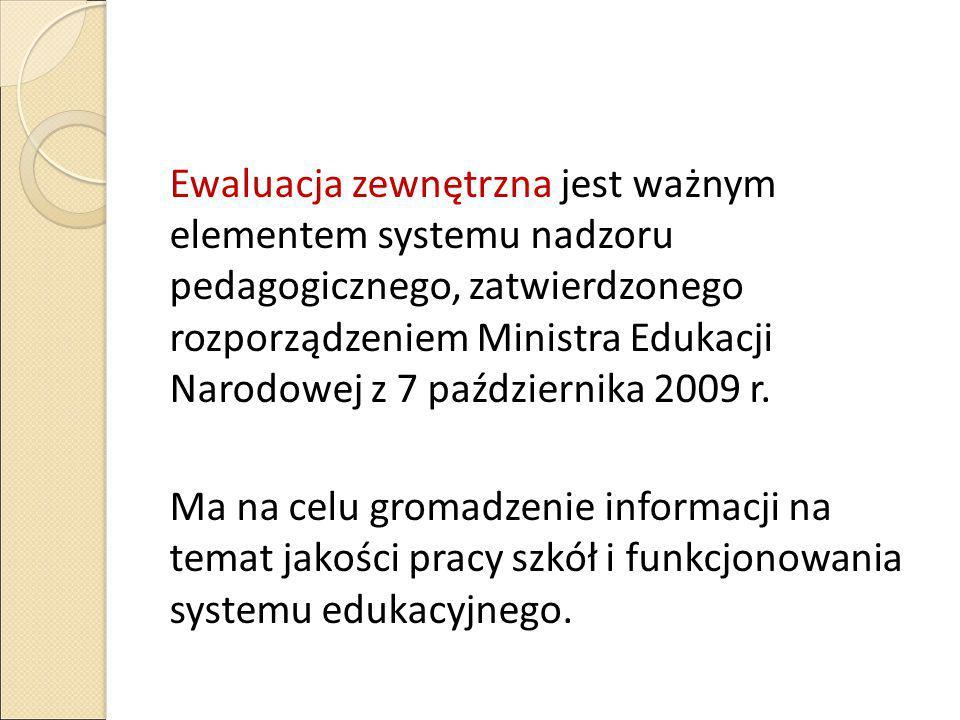 Ewaluacja zewnętrzna jest ważnym elementem systemu nadzoru pedagogicznego, zatwierdzonego rozporządzeniem Ministra Edukacji Narodowej z 7 października