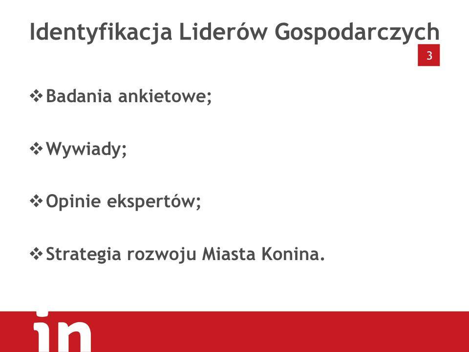 Identyfikacja Liderów Gospodarczych  Badania ankietowe;  Wywiady;  Opinie ekspertów;  Strategia rozwoju Miasta Konina.