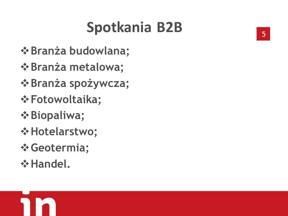 5 Spotkania B2B  Branża budowlana;  Branża metalowa;  Branża spożywcza;  Fotowoltaika;  Biopaliwa;  Hotelarstwo;  Geotermia;  Handel.