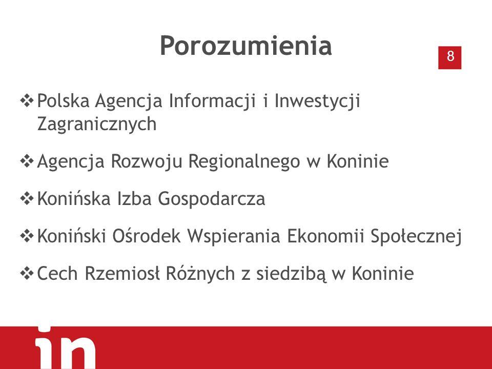 Porozumienia  Polska Agencja Informacji i Inwestycji Zagranicznych  Agencja Rozwoju Regionalnego w Koninie  Konińska Izba Gospodarcza  Koniński Ośrodek Wspierania Ekonomii Społecznej  Cech Rzemiosł Różnych z siedzibą w Koninie 8