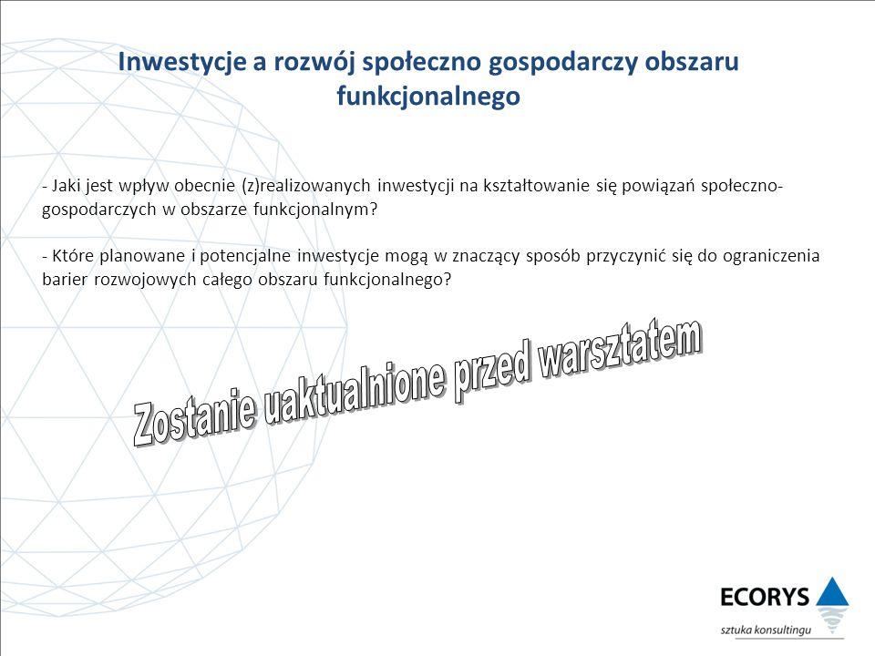 Inwestycje a rozwój społeczno gospodarczy obszaru funkcjonalnego - Jaki jest wpływ obecnie (z)realizowanych inwestycji na kształtowanie się powiązań społeczno- gospodarczych w obszarze funkcjonalnym.