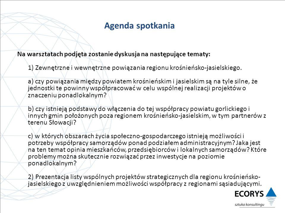 Na warsztatach podjęta zostanie dyskusja na następujące tematy: 1) Zewnętrzne i wewnętrzne powiązania regionu krośnieńsko-jasielskiego.